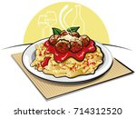 illustration of spaghetti with... | Shutterstock . vector #714312520