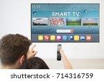 back view couple watching smart ... | Shutterstock . vector #714316759