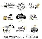 autumn logos  tags  labels.... | Shutterstock .eps vector #714317200