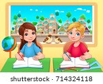 young students boy and girl in... | Shutterstock .eps vector #714324118