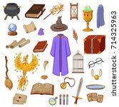 big set to play a wizard.... | Shutterstock .eps vector #714325963