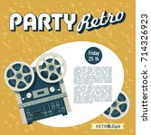 retro party. vector... | Shutterstock .eps vector #714326923