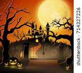 creepy graveyard with castle... | Shutterstock . vector #714327226