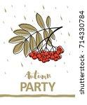 autumn calligraphy card. hand... | Shutterstock .eps vector #714330784