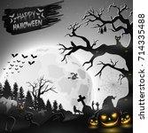 halloween night background with ... | Shutterstock . vector #714335488