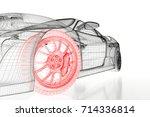 car vehicle 3d blueprint mesh... | Shutterstock . vector #714336814
