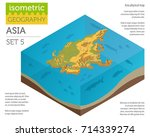 isometric 3d asia physical map... | Shutterstock .eps vector #714339274