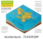 isometric 3d europe physical... | Shutterstock .eps vector #714339289