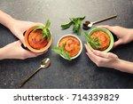 women eating tasty carrot... | Shutterstock . vector #714339829