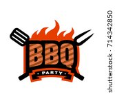 barbecue party. bbq logo ...   Shutterstock . vector #714342850