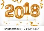 golden toy balloons. happy new... | Shutterstock .eps vector #714344314