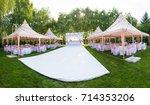 wedding banquet outdoor in... | Shutterstock . vector #714353206