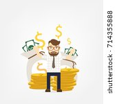 young happy business man stand  ... | Shutterstock .eps vector #714355888