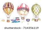 set of hot air balloons and... | Shutterstock . vector #714356119