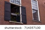 a open window with open black... | Shutterstock . vector #714357130