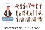 set of successful businessman... | Shutterstock .eps vector #714357664