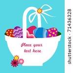 easter basket full on colorful...   Shutterstock .eps vector #71436328