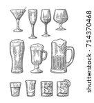 set glass beer  whiskey  wine ... | Shutterstock .eps vector #714370468