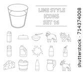 milk set icons in outline style....   Shutterstock .eps vector #714374008