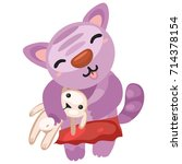 cute kitty holds the toy rabbit ... | Shutterstock .eps vector #714378154