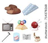 armchair  slippers  tonometer... | Shutterstock .eps vector #714378268