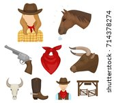 a set of pictures about cowboys.... | Shutterstock .eps vector #714378274