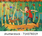 boy throws ball to his dog in... | Shutterstock .eps vector #714378319