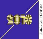 2018 new year design font ... | Shutterstock .eps vector #714383488