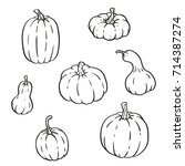 collection of outline pumpkins