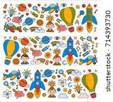 vector set of doodle icons on... | Shutterstock .eps vector #714393730