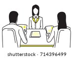 woman applicant or candidate... | Shutterstock .eps vector #714396499