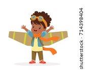 cute little african girl in... | Shutterstock .eps vector #714398404
