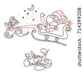 merry christmas line lettering... | Shutterstock .eps vector #714399208