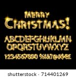 merry christmas with golden... | Shutterstock .eps vector #714401269