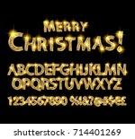 merry christmas with golden... | Shutterstock .eps vector #714401269