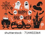 vector hand drawn halloween set. | Shutterstock .eps vector #714402364