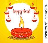 happy diwali diya oil lamp... | Shutterstock .eps vector #714406876