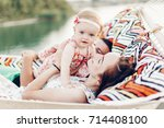Happy Stylish Family With Cute...