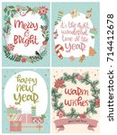set of cute christmas greeting... | Shutterstock .eps vector #714412678