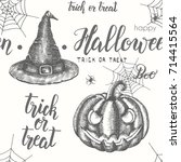 halloween seamless pattern with ... | Shutterstock .eps vector #714415564