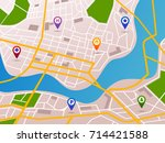 map with gps pointers and route ... | Shutterstock .eps vector #714421588