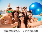 selfie time  six cheerful... | Shutterstock . vector #714423808