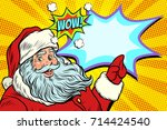 wow santa claus. new year and... | Shutterstock .eps vector #714424540