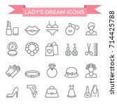 lady fashion accessories set ... | Shutterstock .eps vector #714425788