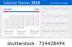 2018 calendar print template... | Shutterstock .eps vector #714428494