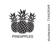 black image of pineapple... | Shutterstock .eps vector #714429349