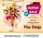 goddess durga for happy... | Shutterstock .eps vector #714432520