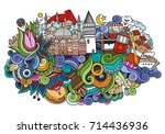 istanbul city doodles elements... | Shutterstock .eps vector #714436936