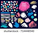 set brush stroke. brush  pen ... | Shutterstock .eps vector #714448540