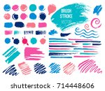 set brush stroke. brush  pen ... | Shutterstock .eps vector #714448606
